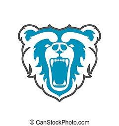 Bear Logo for sport club or team. Animal mascot head logotype. Vector illustration.