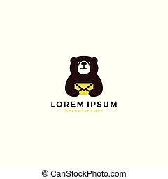 bear mail message teddy logo template vector icon