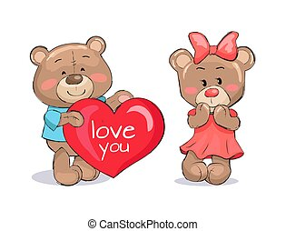 Bear Male Holding Red Heart Text I love You Vector