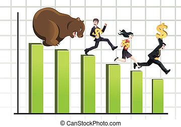 Bear market - A vector illustration of a bear chasing...