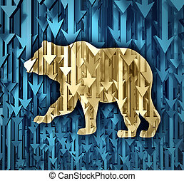 Bear Market - Bear market business concept with a group of...