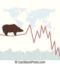 Bear market. Bear, red chart and world map. Falling market. Stock market vector.