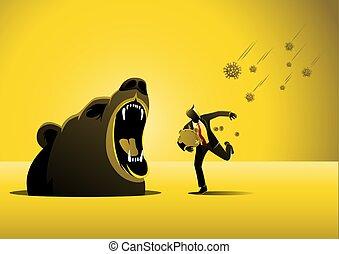 Bear market by COVID-19 Virus pandemic, panic businessman runs away from COVID-19 virus pathogens instead meet with bear fangs.