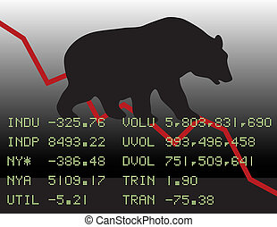 Bear Market - Conceptual illustration of a declining bear...