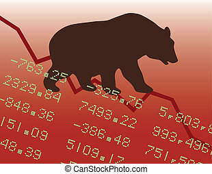 Bear Market in the Red - Conceptual illustration of a bear...