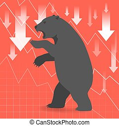 Bear market presents downtrend stock market concept with graph in background