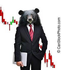 business man with bear head in tock investment concept