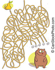 Bear Maze Game for children. Hand drawn illustration in eps10 vector mode. Task: find the way to the pear! Answer is No. 4.