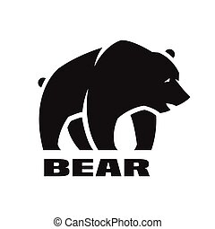 Bear, monochrome logo. - Angry bear monochrome logo, symbol...