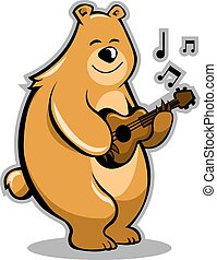 Bear Musician - A brown bear playing guitar.