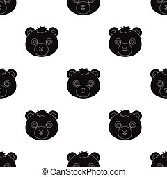 Bear muzzle icon in black style isolated on white background. Animal muzzle symbol stock vector illustration.