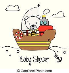 Bear on a boat