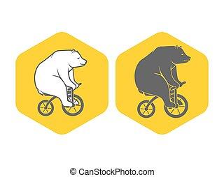 Bear on bicycle minimalistic emblem logo vector illustration
