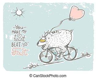 Bear on bike with balloon