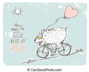 Bear on bike with balloon