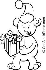 bear on Christmas coloring book