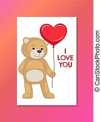 Bear on Festive Postcard with I Love You Sign