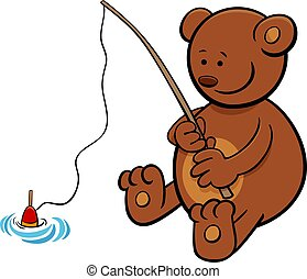bear on fishing cartoon illustration