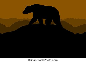 Bear On Horizon - Illustration of a bear walking across...