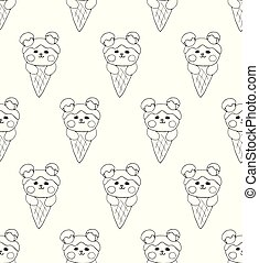 Bear on Ice Cream White Background