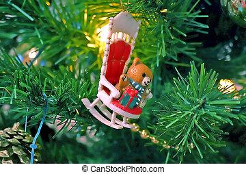 Bear on Rocking Chair Tree Ornament