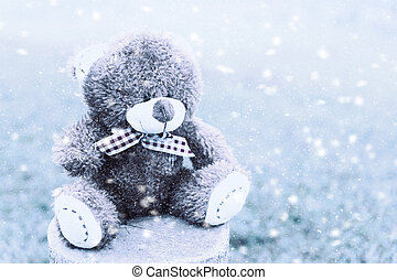 Bear on Stump in the winter.