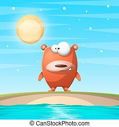 Bear on the beach. Cartoon illustration.