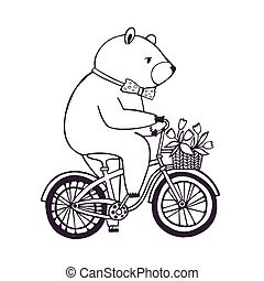 Bear on the bicycle with basket and flowers. Cartoon contour Illustration on white background.