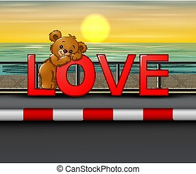 Bear on the red word LOVE in seaside background