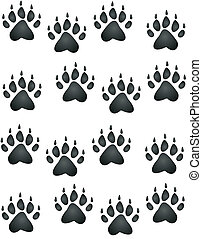 Bear Paw Print - Bear or cub, paw prints all heading in an...
