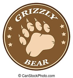 Bear Paw Print Brown Circle Label