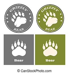 Bear Paw Print Circle Logo Design Concept. Collection