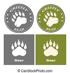Bear Paw Print Circle Logo Design Concept. Collection
