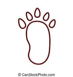 bear paw print line style icon