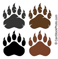 Bear Paw With Claws. Collection Set