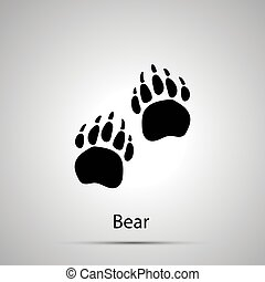Bear paws, steps imprints, simple black silhouette on gray -...