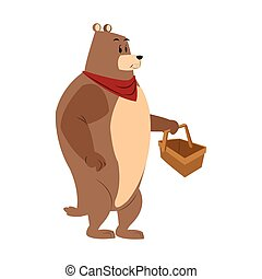 bear picnic basket draw isolated vector illustration