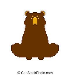 Bear pixel art. Beast 8 bit. Vector illustration