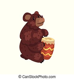Bear playing drum, cartoon animal character with musical instrument vector Illustration on a white background