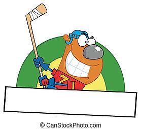 Bear Playing Ice Hockey