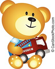Bear playing toys