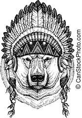 Bear, polar bear. Wild animal wearing inidan headdress with...