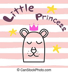 Bear princess t-shirt design for kids and babies.