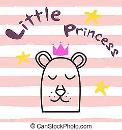 Bear princess t-shirt design for kids and babies.