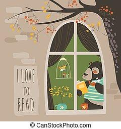 Bear reading a book near the window