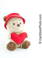 Bear, red heart on white background.