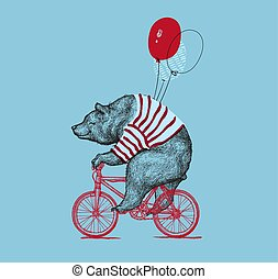 Bear Ride Bike Balloon Vector Grunge Print. Hipster Mascot...