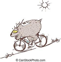 Bear riding bike fast