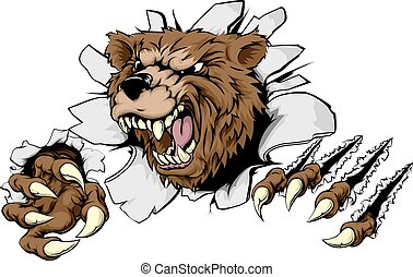 Bear ripping through background - A scary Bear ripping ...