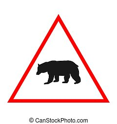 bear road sign design warning vector illustration